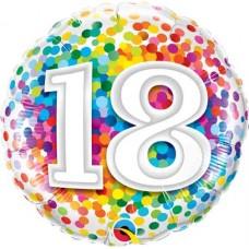 Folija balon - 18 mavrični konfeti