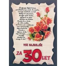 Leseni napis za 30 let - Rože Rdeče