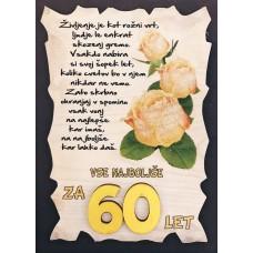 Leseni napis za 60 let - Rože