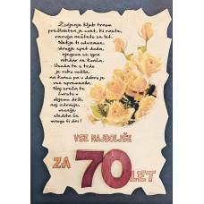 Leseni napis za 70 let - Rože