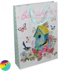 Darilna vrečka Best Wishes Ptičja hišica