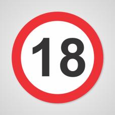 Nalepka prometni znak št. 18 Premer: 15 cm