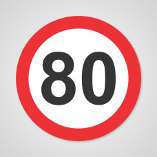 Nalepka prometni znak št. 80 Premer: 15 cm