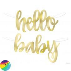 Napis Hello Baby zlat