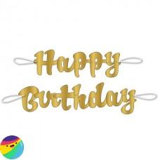 Napis Happy Birthday zlat