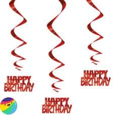 Viseča dekoracija Happy Birthday rdeča