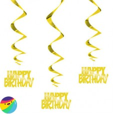 Viseča dekoracija Happy Birthday zlat