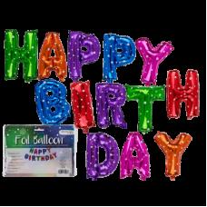 Baloni iz folije - Happy Birthday pisani