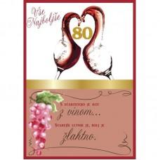 Voščilnica - 80 Vino