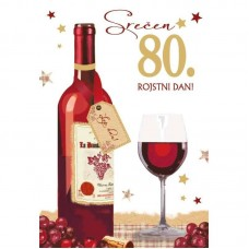 Voščilnica - 80 Kozarec vina