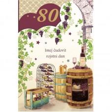 Voščilnica - 80 Sod in vino