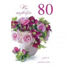 Voščilnica - 80 Šopek vrtnic