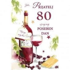 Voščilnica - 80 Steklenica vina