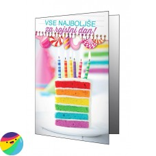Voščilnica - Kos torte in svečke