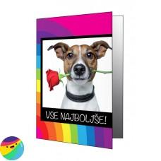 Voščilnica - Pes z vrtnico