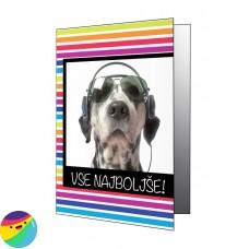 Voščilnica - Pes z očali