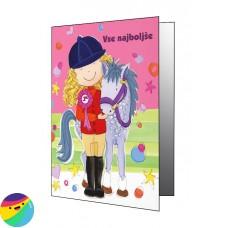 Voščilnica - Deklica s konjem