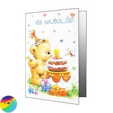 Voščilnica - Medvedek s torto