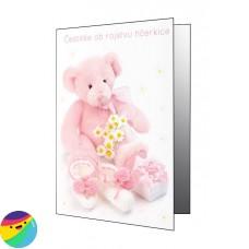 Voščilnica - Roza medvedek